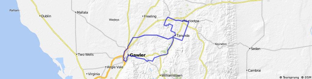 Gawler Wheelers-ROUTE54C-Gawler-Cockatoo Valley-Lyndoch-Tanunda-Seppeltsfield-Greenock-Nuriootpa-Bethany-Gomersal-Gawler-UNDULATING