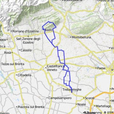 Trebaseleghe-Vedelago-Altivole-Maser(Mostacin)-Asolo(Monte dei frati)-Altivole-Fanzolo-Vedelago-Albaredo-Trebaseleghe. CLONED FROM ROUTE 865934