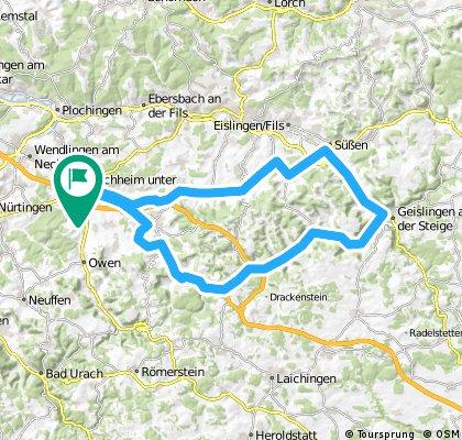 Kirchheim - Süßen - Geislingen - Wiesensteig - Kirchheim