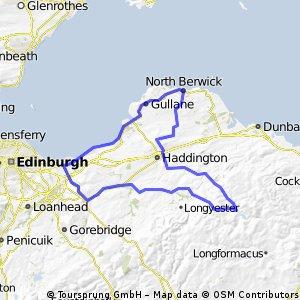 Pencaitland-Carberry-Musselburgh-North Berwick-Haddington-Garvald-Whiteadder-Gifford-Pencaitland