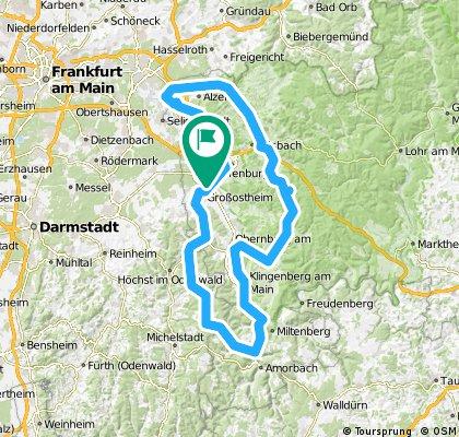 156km Odenwald und Spessart ziemlich  flach