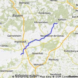 Karlskron - Weltenburg an der Donau entlang