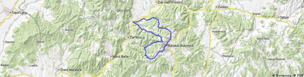 Štiavnické vrchy - Hliník nad Hronom - Sklené Teplice - Banská Štiavnica - Štiavnické Bane - Kopanice - Hodruša - Vyhne - Bzenica - Hliník nad Hronom