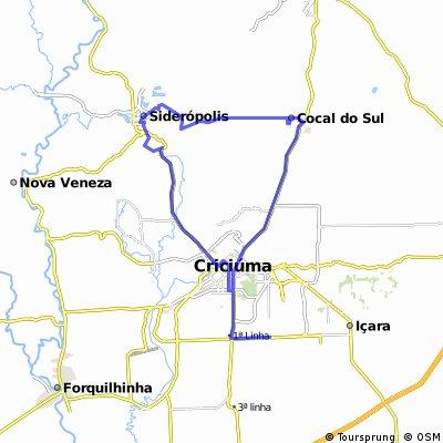 Criciúma X Siderópolis X Cocal do Sul.