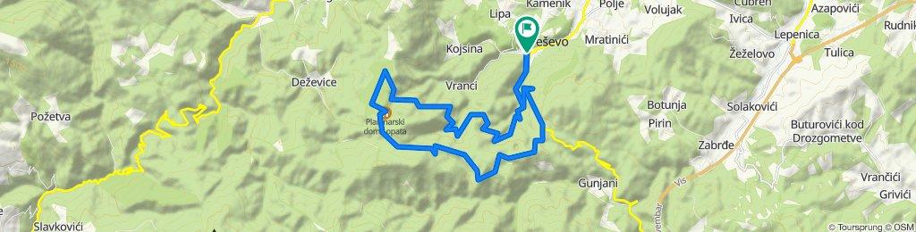 1.  Kresevo-Vrela-Šena stijena-Pomol-Lopata-Trošnica-Bogodar-Naošići-Mešćema-Blinje-Kreševo