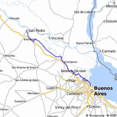 Buenos Aires San Pedro sin autopista