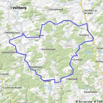 Rennradtour in den Ellwanger Bergen