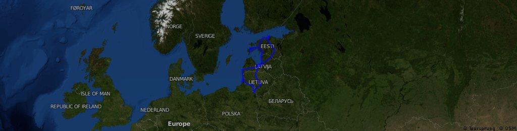 Rajd rowerowy Litwa-Łotwa-Estonia 2012_trasa całkowita