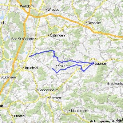 Ubstadt - Zeutern- Menzingen-Eppingen- Bahnbrücken-Münzesheim