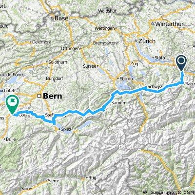 Route panorama alpin (Ziegelbrücke - Fribourg)