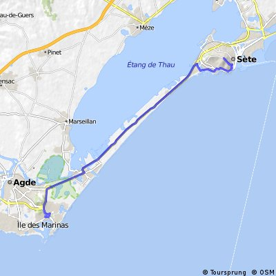Cycling routes and bike maps in and around Le Cap DAgde Bikemap