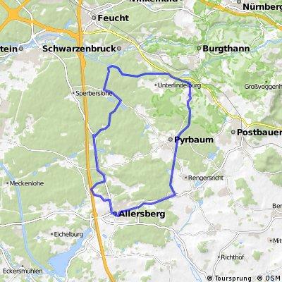 Pfeifferhütte, alte Bahnstrecke, Allersburg, Faberhof, zurück CLONED FROM ROUTE 828168