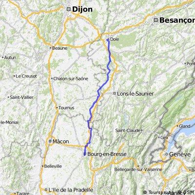 Bourg-en-Bresse Tag 7 Dole - Bourg-e-B. 127 KM