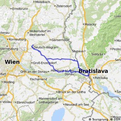 Deutsch Wagram - Bratislava über die Brücke der Freiheit