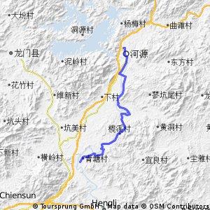河源→古竹鎮35k→觀音閣鎮58k→蘆州鎮73k
