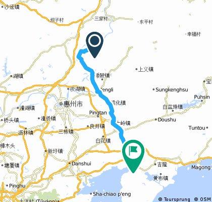 觀音閣鎮→蘆州鎮15k→梁化鎮51k→惠東68k→稔山鎮87k