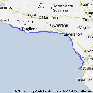 Tre Mari: sesta tappa:Marina di Pulsano-Gallipoli