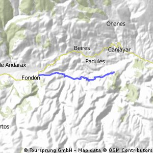 Desde Alcora al cruce de Fondon por la carretera antigua.