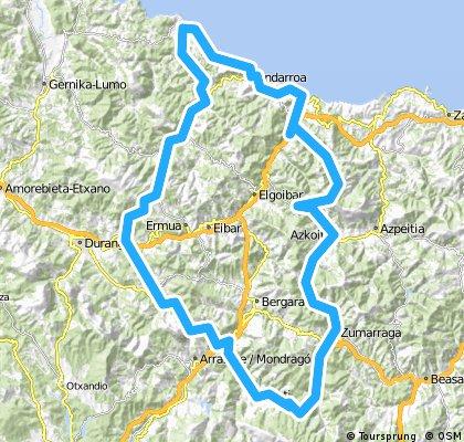 Urretxu-Oñati-Elorrio-Berriz-Markina-Lekeitio-Ondarroa-Mutriko-Deba-Lastur-Azurki-Azcoiti-Urretxu