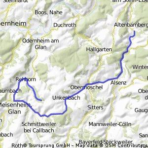 Hütte Rehborn - Route über Meisenheim