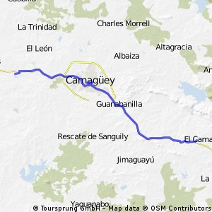 Cycling routes and bike maps in and around Provincia de Camagey