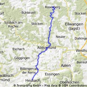 Alternative II zur Tour Schwäbische Alb - Mainz