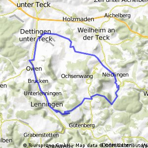 Von Nabern durch´s Lindachtal nach Neidlingen,über die Schwäbische Alb, und durchs Lenninger Tal  CLONED FROM ROUTE 4947