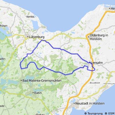 Lensahn-Kirchnüchel-Benz-Malkwitz-Sieversberg-Neukirchen-Gowens-Högsdorf-Blekendorf-Kaköhl-Hansühn-Lensahn-Kreuzung-Manhagen-Kirschenallee-Lensahn