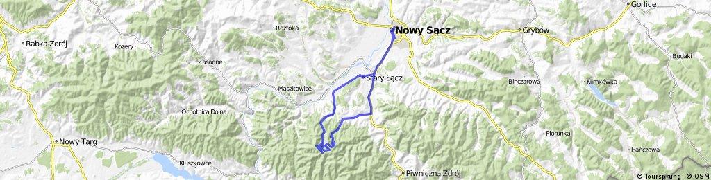 Przehyba, Zgrzypy i Diabli Garnek - trasa rowerowa: Nowy Sącz - Gaboń - Przehyba - Zgrzypy - Diabli Garnek - Przysietnica - Barcice - Nowy Sącz