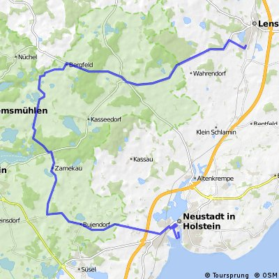 Lensahn-Schönwalde-Bergfeld-Sagau-Zarnekau-Bujendorf-Roge-Neustadt