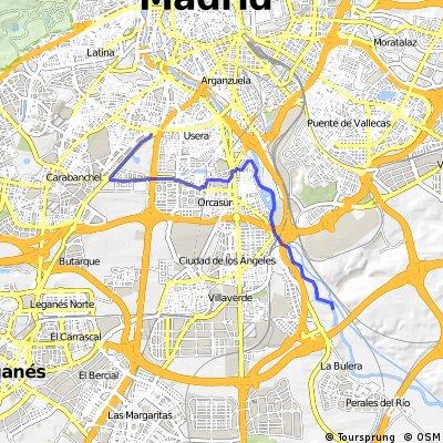 Plaza Elíptica a carril fluvial del Manzanares