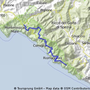 Cinqueterre cycling excursions, routes.