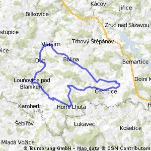 Vlašim - Louňovice - Horní Lhota - Pravonín - Křivsoudov - Borovnice