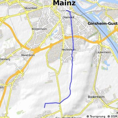 Mainz-Zitadelle nach Mainz-Ebersheim (Fasanenhof)