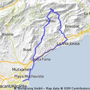 Ruta C.C.ALIBIKE: SAN JUAN-CAMPELLO-VILLAJOYOSA-SELLA-RELLEU-AGUAS-CAMPELLO