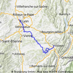 De Lyon à Voiron par le col de Toutes Aures et le Chambarans