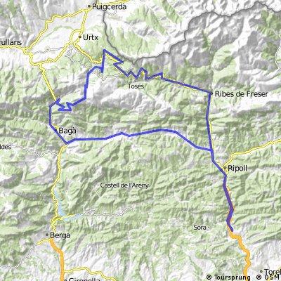 Montesquiu - Camdevànol- Coll de Merolla- Guardiola de Berguedà- coll de pal- la molina- carretera collada- planoles- ribes de Fresser-montesquiu
