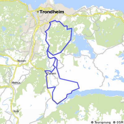 Cycling routes and bike maps in and around Trondheim Bikemap