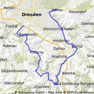 Dresden Coschütz-Possendorf-Kreischa-Reingrimma-Liebstein-Pirna-Pillnitz-Loschwitz-Dresden Bühlau ,