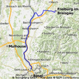Rhein - Bodensee - Zürichsee, Etappe 1 (Freiburg bis Basel)