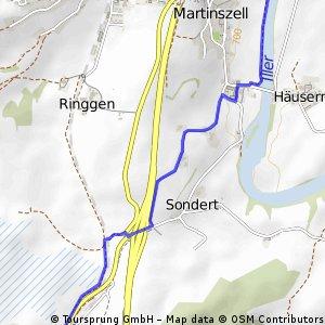 Umleitung Illerradweg am 20.7.2013 von Nord nach Süd