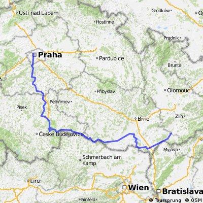 Praha - Uherský ostroh - TRASA 3