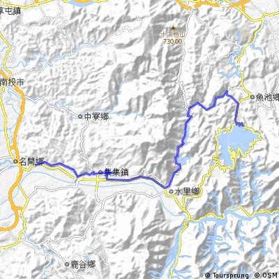 日月潭→水里→集集單車路線圖