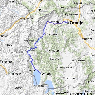 Skopje - Tetovo - Gostivar - Debar - Struga - Ohrid
