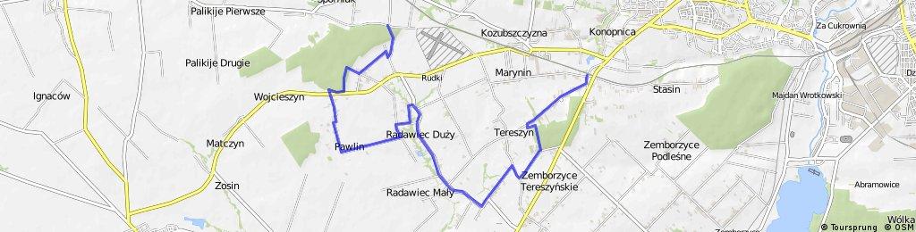 Trasa szlaku żółtego w Gminie Konopnica