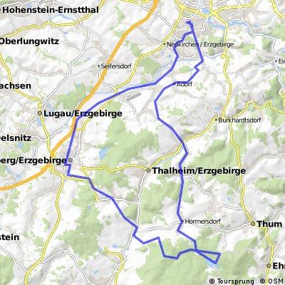 Stollberg-Brünlos- Stausee Geyer und zurück
