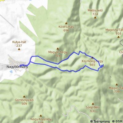 Nagybörzsöny (209 m.n.m.) -> Nagy Hideg-hegy (846 m.n.m.) -> Nagybörzsöny