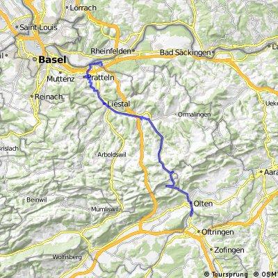 Kaiseraugst-Hauenstein-Aarburg und zurück