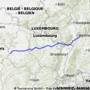 Heidelberg nach Westen Etappen 1-4