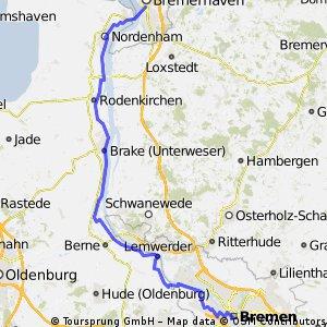 Weser-Radtour: Bremen - Bremerhaven